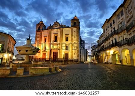 Evora at night, Do Giraldo square, Portugal - stock photo