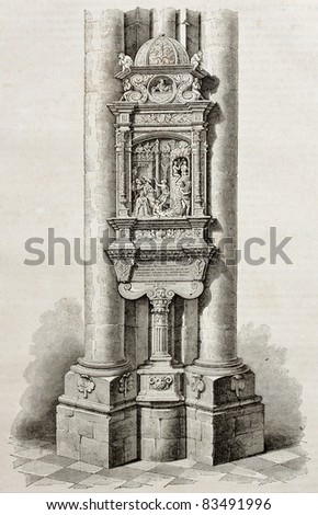 Ex voto from Syderack de Lallaing in Notre-Dame de Saint-Omer, old illustration. By unidentified author, published on Magasin Pittoresque, Paris, 1840 - stock photo