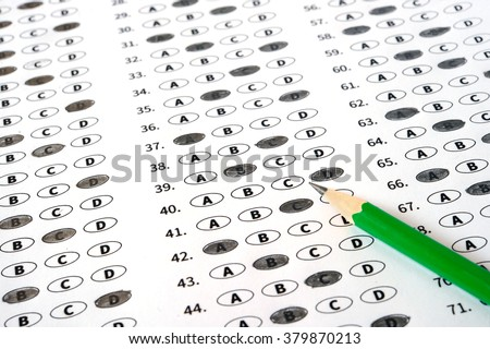 Examination test sheet with pencil. Education concept - stock photo