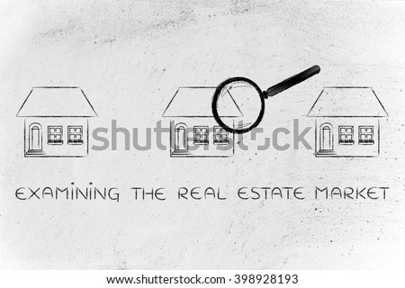 examining the real estate market: magnifying glass analyzing a group of houses to select the best - stock photo