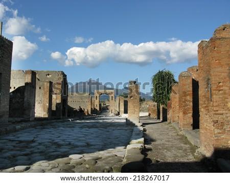 excavations of Pompeii architectonic particulars of roman ruins  - stock photo