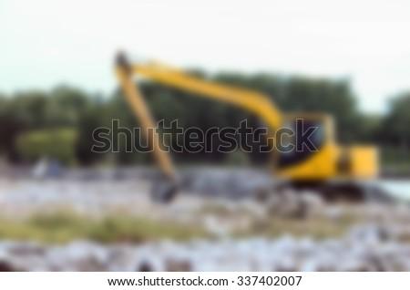 excavator blur background - stock photo