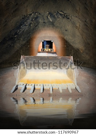 Excavator in digging hole. Environmental concept - underground water pollution. - stock photo