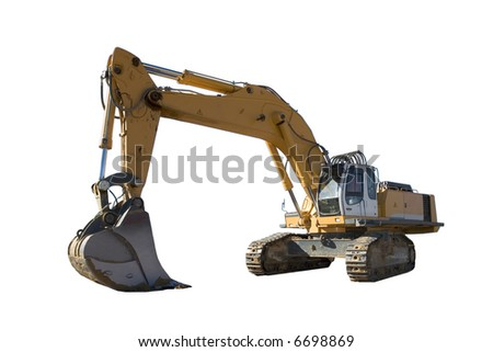 Excavator isolated on white background - stock photo