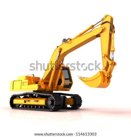Excavator on a white background, with reflection and shadow - stock photo