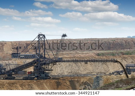 excavator working on open pit coal mine mining industry - stock photo