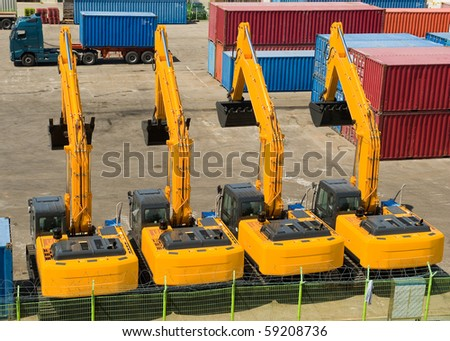 excavators import export in the korean  port Sokcho - stock photo