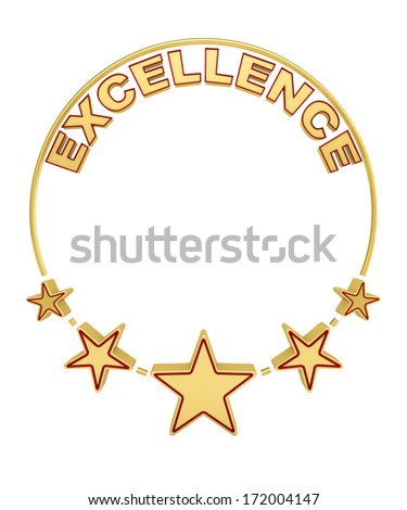 Excellence award with five stars over white background - stock photo