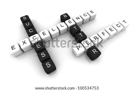 Excellence box Crossword 3D render - stock photo