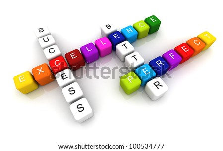 Excellence colorful box Crossword 3D render - stock photo