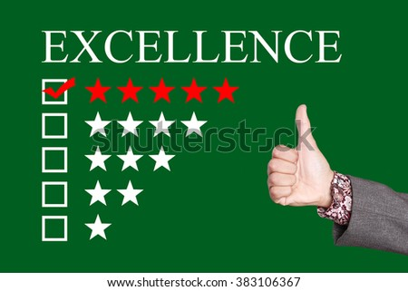 Excellence - Five Stars Rating with thumb up. Green Background - stock photo