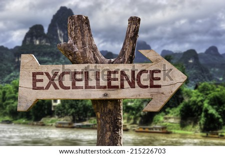 Excellence wooden sign with a forest background - stock photo