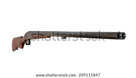 Excellent hunting rifle. Isolated on white - stock photo