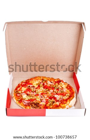 Excellent pizza in box with mozzarella, ham, pork, pickled peppers, olives isolated on white background - stock photo
