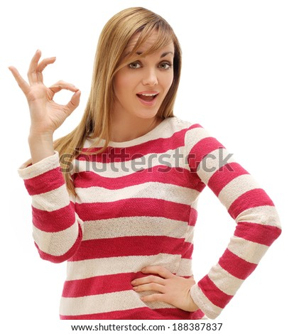 Excellent . Portrait of young woman  looking through OK sign she made with her hand. White background - stock photo
