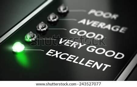 Excellent Quality concept, Illustration of excellence over black background with green light and blur effect. - stock photo