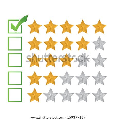 excellent review rating illustration design over a white background - stock photo