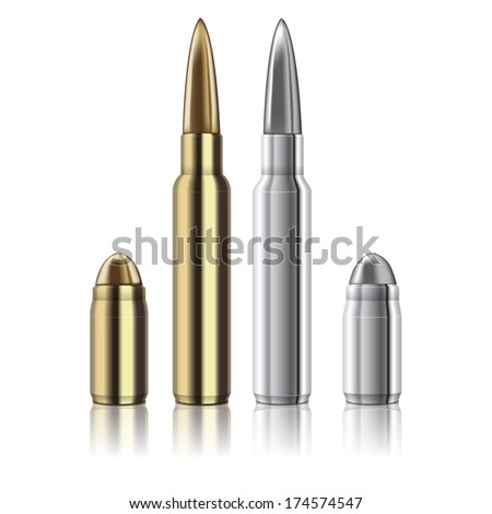 excellent Rifle and pistol bullets isolated on white - stock photo