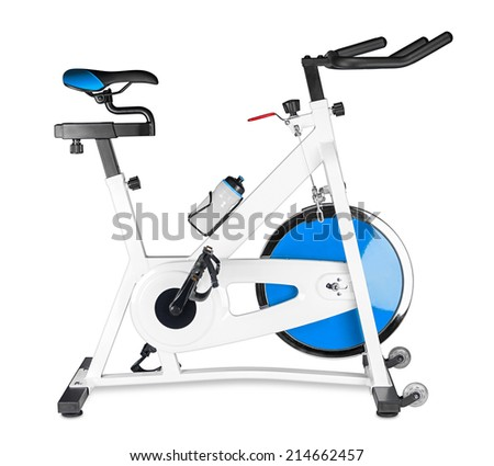 excercise bike on white background - stock photo