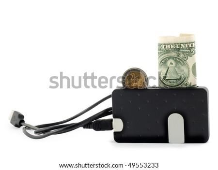 Exchange money isolated on white background - stock photo