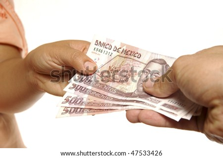 Exchange of Mexican pesos - stock photo