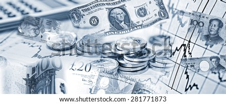 Exchange rates of various currencies with banknotes and calculator - stock photo