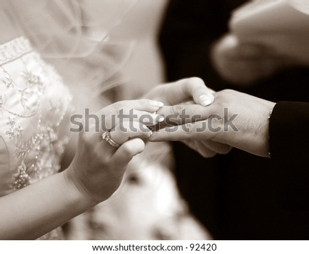 Exchanging rings - stock photo