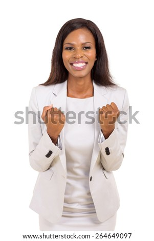 excited african american businesswoman waving fists isolated on white background - stock photo