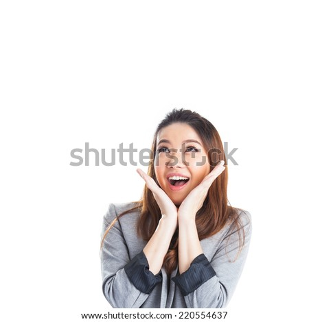 Excited beauty woman Very excited mixed Caucasian / Asian woman holding her head in amazement. Isolated on white. - stock photo