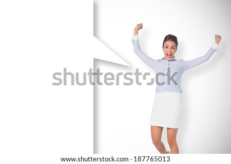 Excited brunette businesswoman with speech bubble against white background with vignette - stock photo