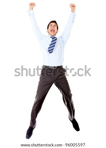 Excited businessman celebrating and jumping - isolated over a white background - stock photo