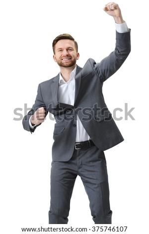 Excited businessman celebration success. Isolated on white background - stock photo