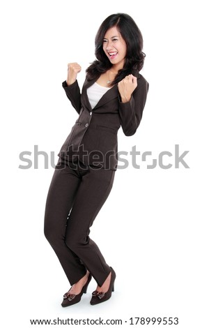 Excited businesswoman very Excited. happy asian business woman isolated in full length on white background. - stock photo