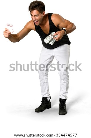 Excited Caucasian young man with short medium brown hair in casual outfit holding money - Isolated - stock photo