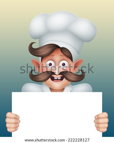 excited chief cook holding blank card, restaurant menu template, cartoon character illustration - stock photo