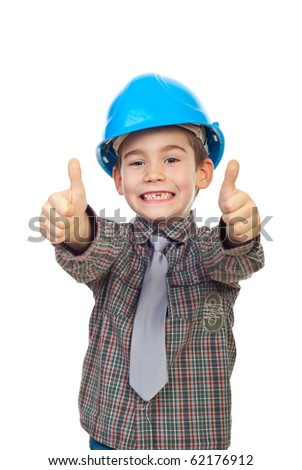 Excited future architect with toothless giving thumbs up with both hands isolated on white background - stock photo