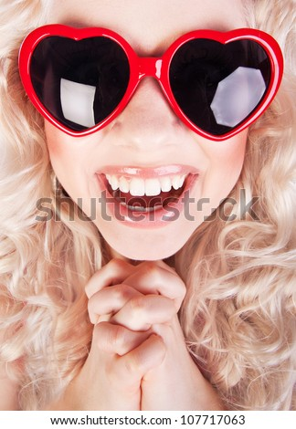 Excited girl, fish eye portrait - stock photo
