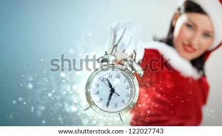 excited girl with santa hat holding clock. illustration - stock photo