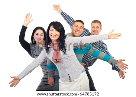 Excited group of friends with arms in the air  isolated on white background - stock photo