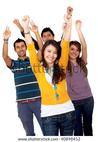 Excited group of young people isolated over a white background - stock photo