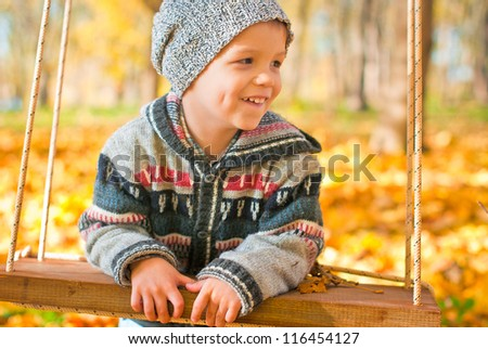 excited little boy on a swing outdoor, autumn leaves on background - stock photo