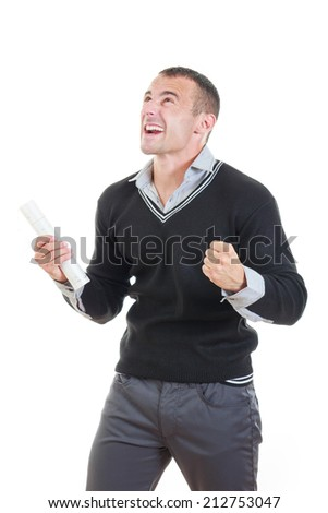 Excited male graduate cheering with diploma showing happy expression proudly - stock photo
