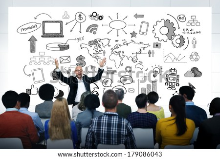 Excited Man in Casual Business Presentation with World People and Infographic - stock photo