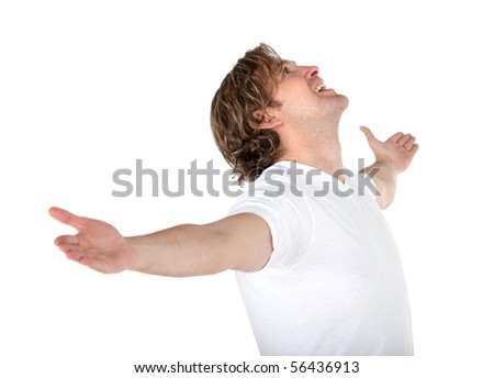 Excited man in white with arms opened - isolated - stock photo
