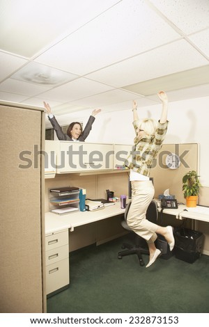 Excited Office Worker - stock photo