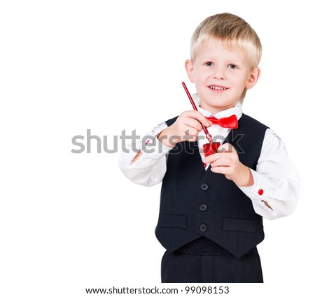 excited painting boy isolated on white background - stock photo
