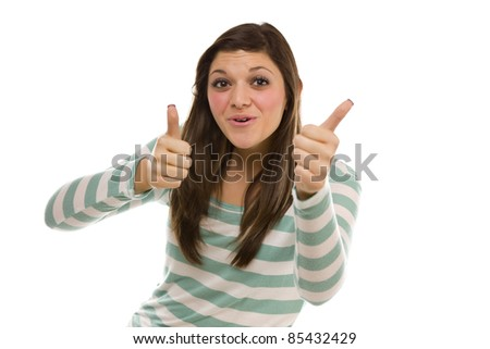 Excited Pretty Ethnic Female with Thumbs Up Isolated on a White Background. - stock photo