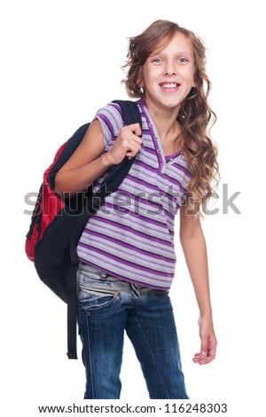 excited pupil holding knapsack against white background - stock photo