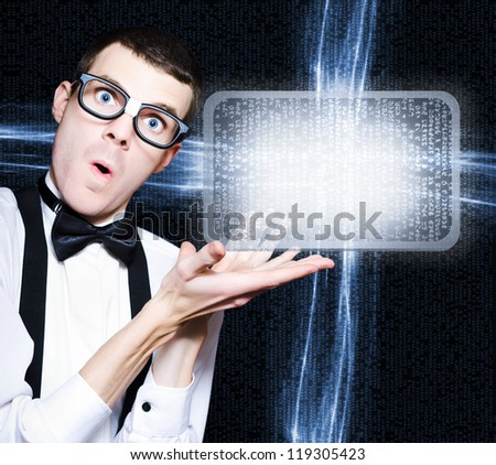 Excited Technology Smart Man Advertising Electronic Products And Programs On A Blank Digital Screen - stock photo