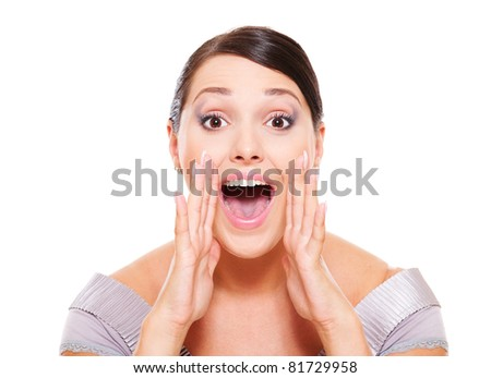 excited woman shouting over white background - stock photo